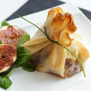 brick au foie gras mi-cuit et aux poires