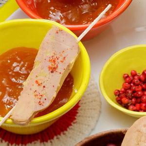 brochettes de foie gras et chutney de mangue