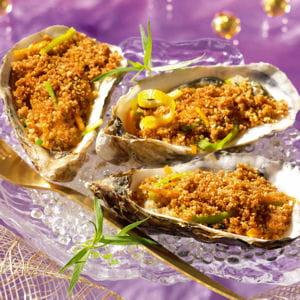 huîtres chaudes gratinées de fine chapelure de pain