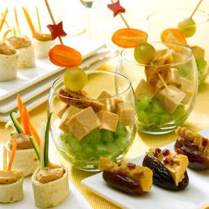 mini-wrap de foie gras, dattes farcies, verrines fruitées