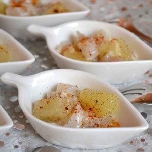 cuillères au tartare de saint-jacques et ananas à la vanille