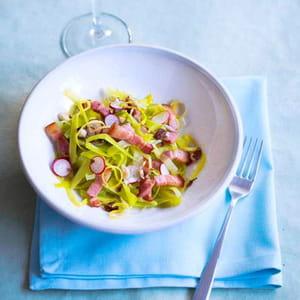 salade gourmande lardons, poireaux et radis