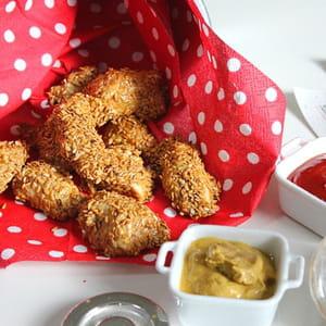 nuggets de poulet, curry & graines de lin