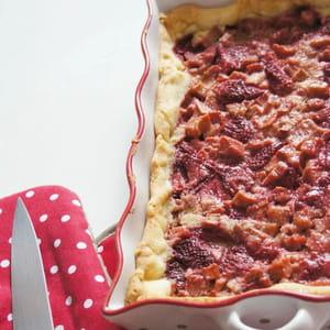 tarte amandine rhubarbe et fraises