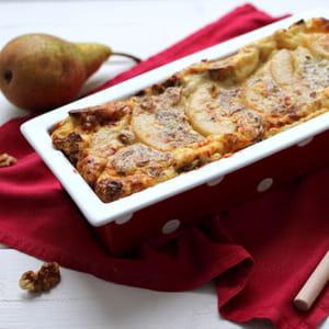 clafoutis aux poires, roquefort et noix