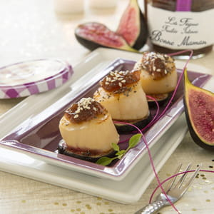 noix de saint-jacques déglacées au coulis de fruitée intense figue bonne maman®