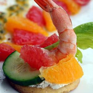 amuse-bouches aux crevettes et agrumes