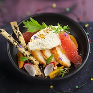 langouste, crème orange noisette et sablés noirs