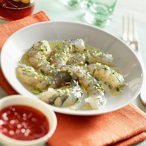 carpaccio de crevettes en aigre-douce relevée
