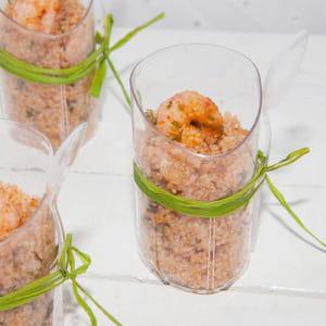 couscous d'orge à la charmoula et aux crevettes