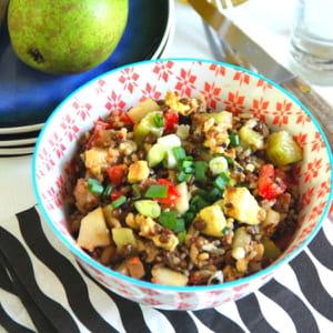 salade de poulet mariné au curry et graines mélangées