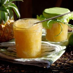 confiture ananas, citron vert et gingembre