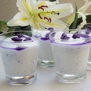 mousse de fromage blanc à la violette