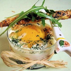 œuf cocotte épinard truite rose, sacristain parme