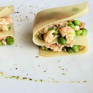 fraîcheur de lasagnes, crevettes-petits pois épicés