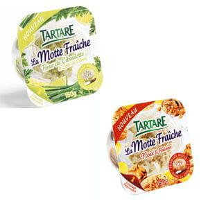 la motte fraîche de tartare et ses deux nouvelles saveurs :noix et raisins,