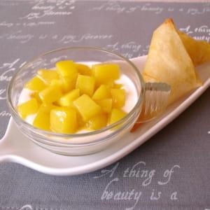 verrines ricotta-mangue et leurs croustillants