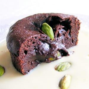 moelleux au chocolat coeur truffé à la pistache
