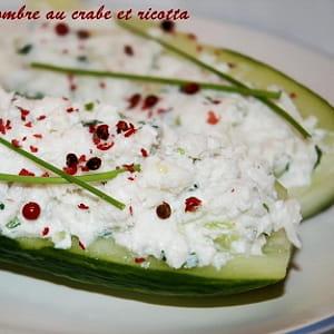 barquette de concombre au crabe et ricotta