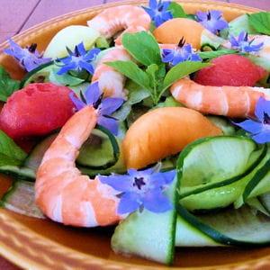 salade de concombre et de crevettes aux trois melons