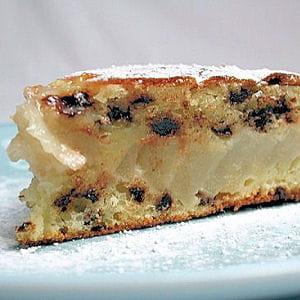 gâteau moelleux aux pépites de chocolat et aux poires