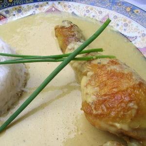 cuisses de poulet à la crème de gingembre