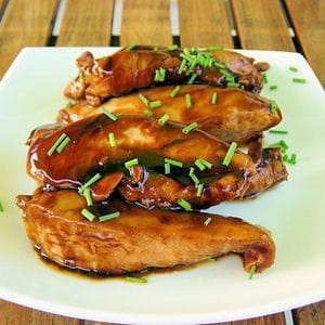 aiguillettes de poulet laquées
