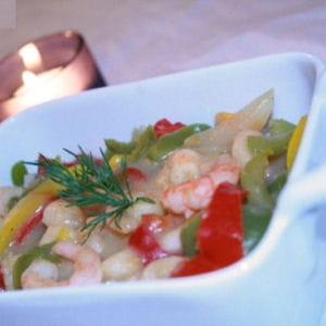 cassolettes de crevettes aux trois poivrons