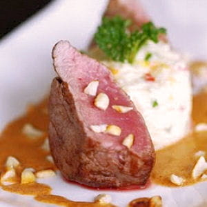filet de bœuf angus, sauce au curry panang et riso