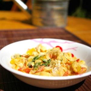 curry de lotte au lait de coco et aux poivrons