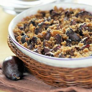 crumble de prunes aux haricots et aux châtaignes