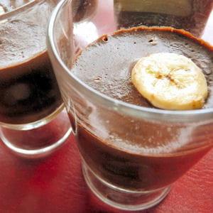 verrines choco-banane à l'agar-agar