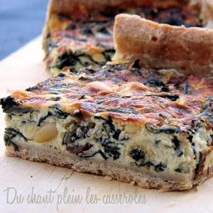 tarte aux blettes, chèvre, raisins secs et pignons
