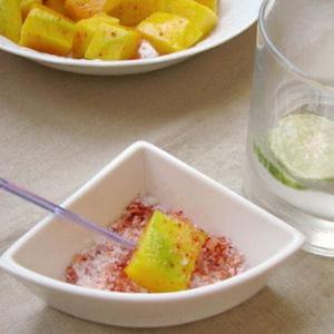 cube de mangue verte au piment d'espelette