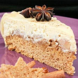 cheesecake poires caramélisées et pain d'épices