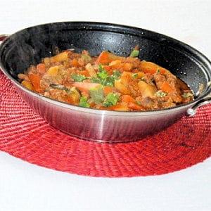 wok de filet mignon de porc au curry de légumes