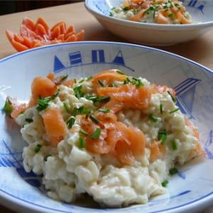 risotto au saumon fumé et à la feta