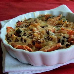 gratin de pâtes aux champignons de paris