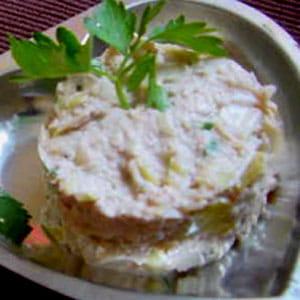 rillettes de poireau et crabe aux noix