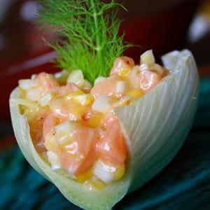 tartare saumon, mangue et fenouil