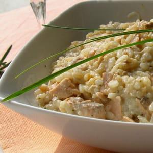 risotto au saumon, crème de parmesan