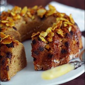 gâteau à la farine de châtaigne, sirop d'érable et chocolat