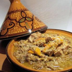 tajine de poulet, fruits secs et orange