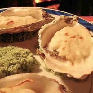 huîtres au roquefort et au champagne
