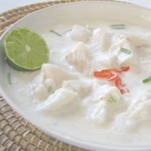 poisson cru mariné, lait de coco et citron vert