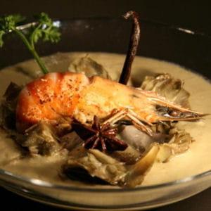 soupe blanche d'artichauts et d'aubergines