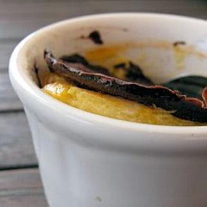 crème orange bergamotée sous craquant de chocolat