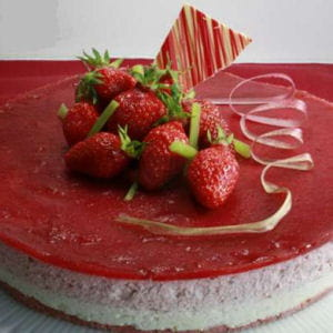 bavarois fraises rhubarbe