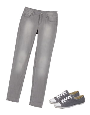 jean gris de naf naf et converse light grises