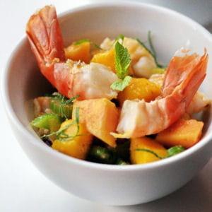 salade de gambas aux saveurs exotiques